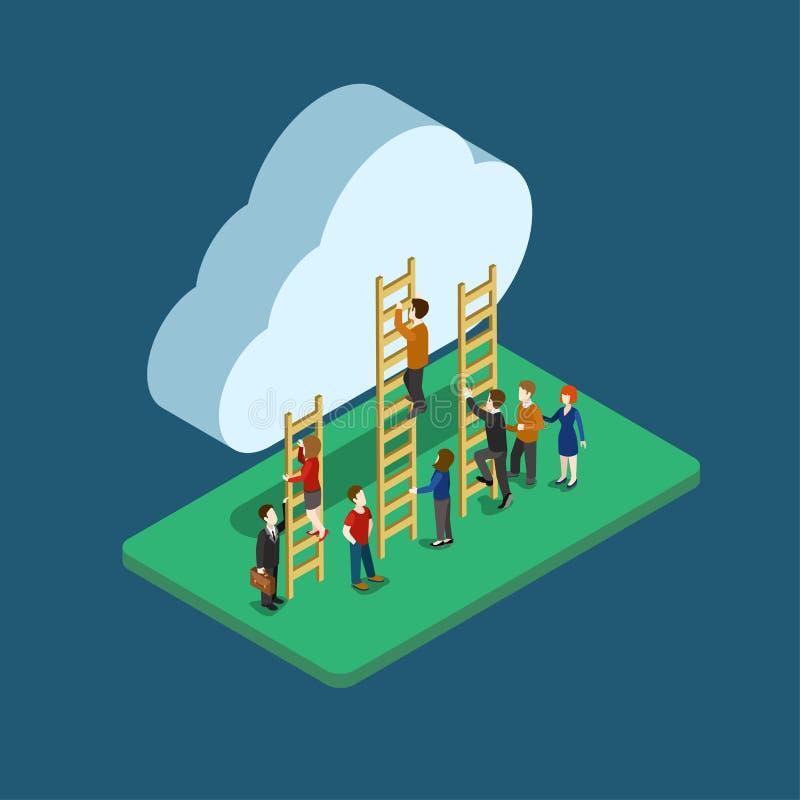 Isometriskt folk för plan rengöringsduk som 3d använder infographic begrepp för moln royaltyfri illustrationer