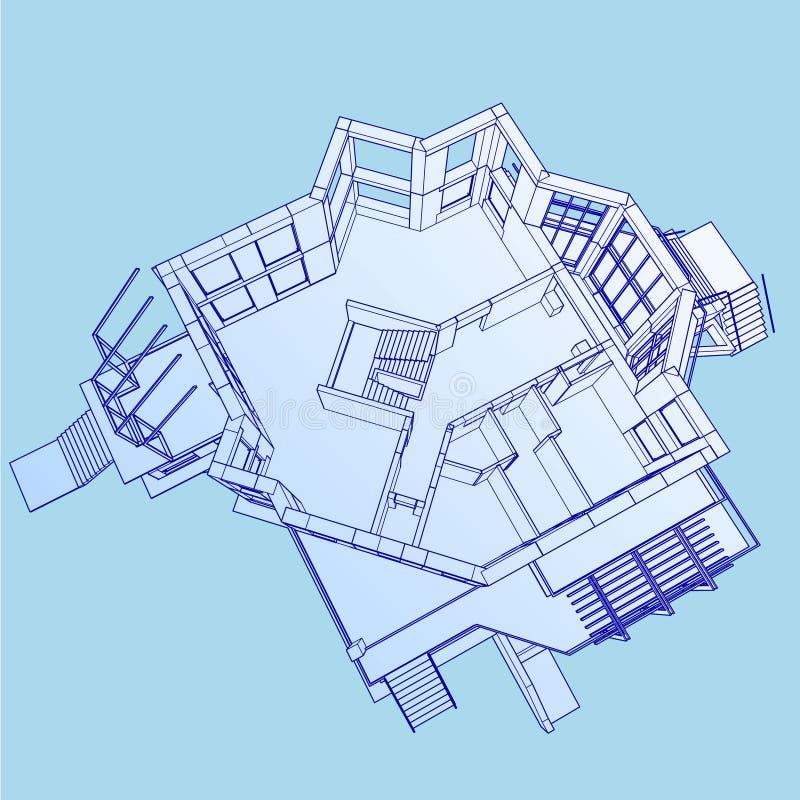 Isometriskt golvplan stock illustrationer