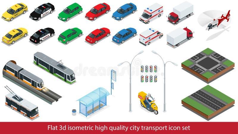 Isometriskt högkvalitativt drev för gångtunnel för uppsättning för stadstransportsymbol, polisen, kortkort för taxilastbilbil, se vektor illustrationer