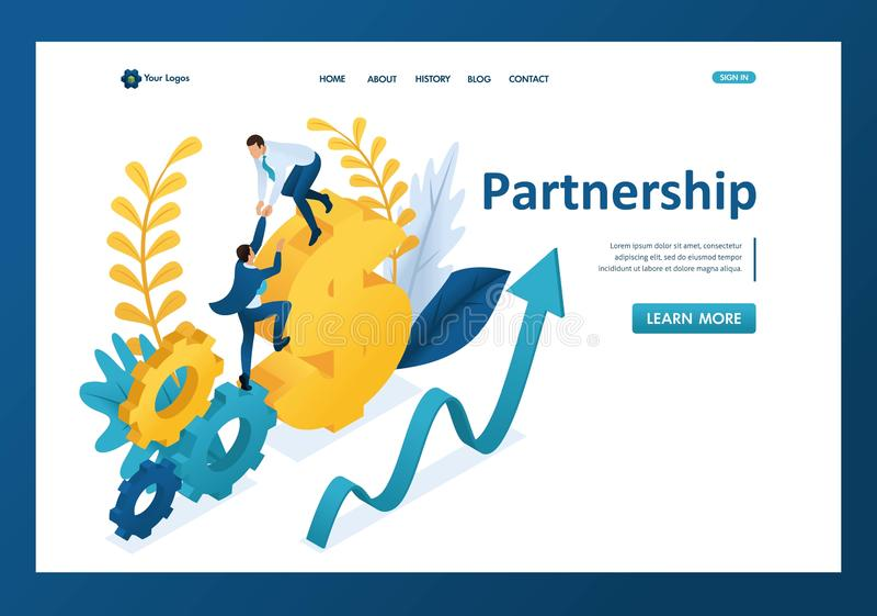 Isometriskt hjälpa en stor affärsman till hans partner, portionhand, partnerskap Malllandningsida royaltyfri illustrationer