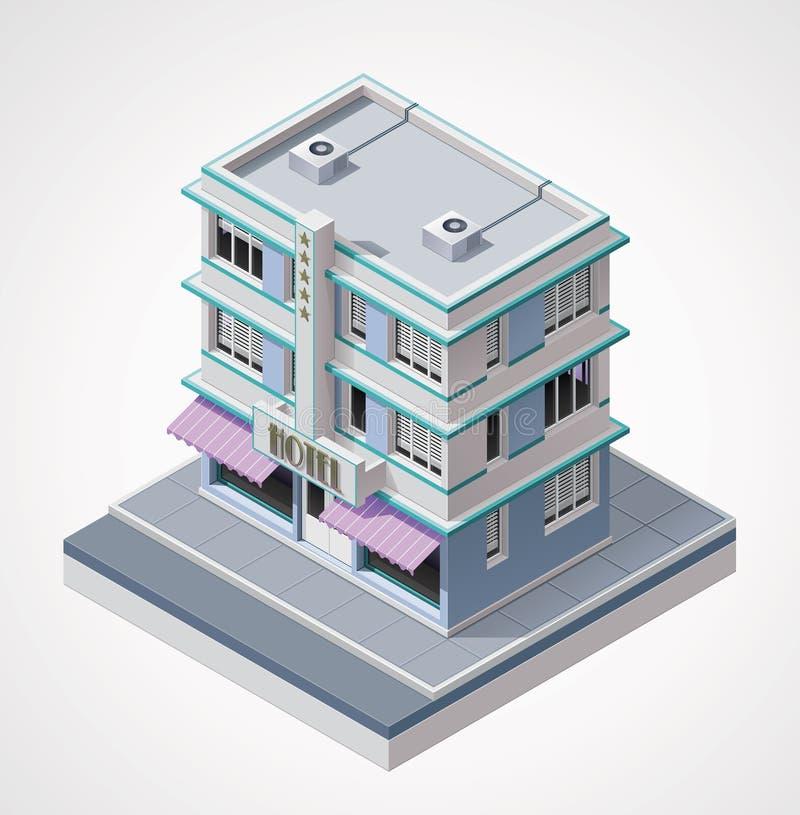 Isometriskt hotell för vektor royaltyfri illustrationer