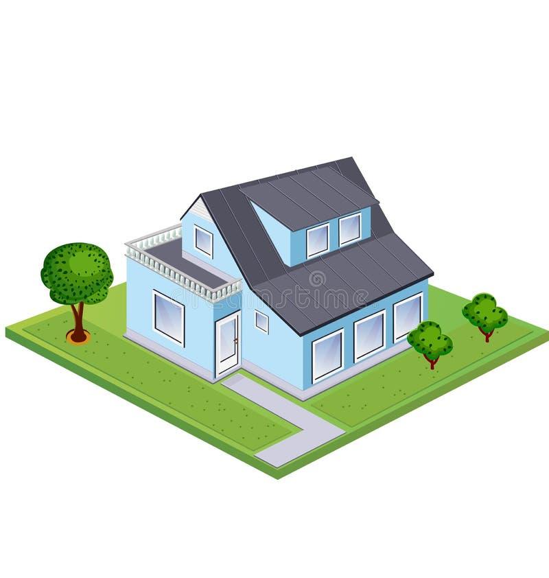 isometriskt hus vektor illustrationer
