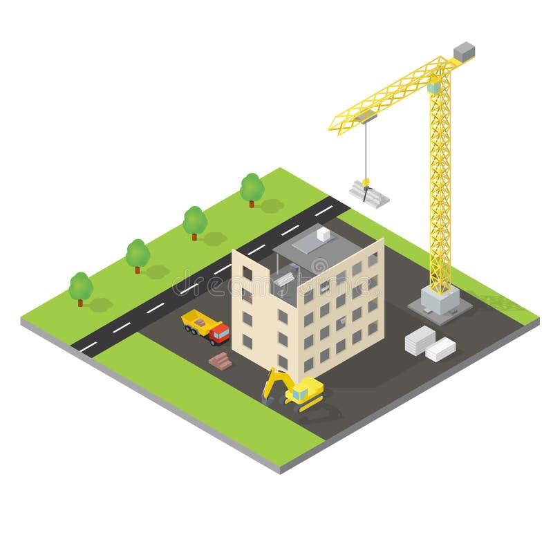 Isometriskt hus under konstruktion stock illustrationer