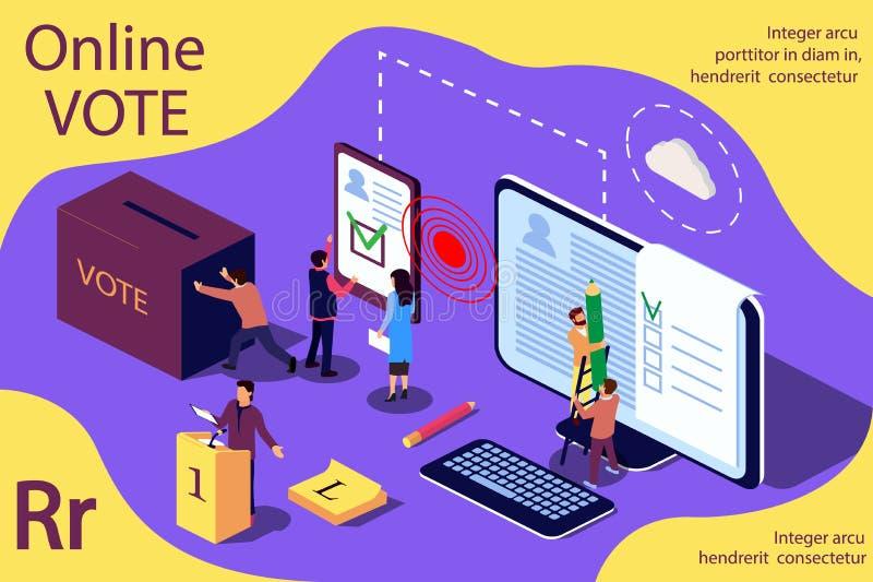 Isometriskt illustrationbegrepp Grupp människor ger online- röstar och tar bort valurnan royaltyfri illustrationer