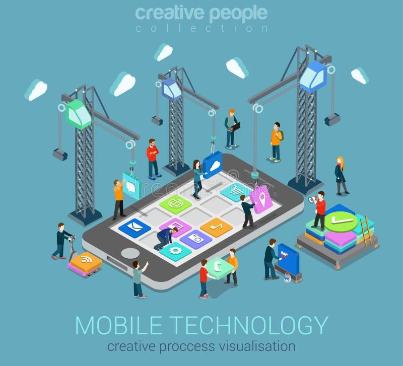 Isometriskt infographic begrepp för mobil rengöringsduk för teknologilägenhet 3d vektor illustrationer