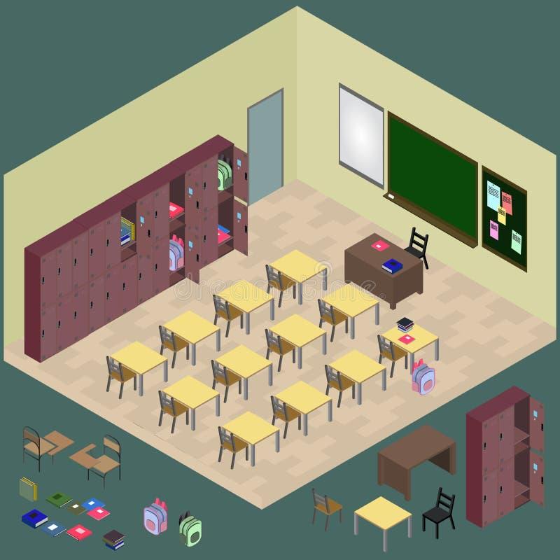 Isometriskt klassrum med objekt: skrivbord svart tavla, tabell, stol, stock illustrationer