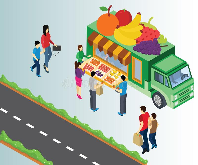 Isometriskt konstverk av köpande frukter för folk att bilda en fruktlastbil över vägen stock illustrationer