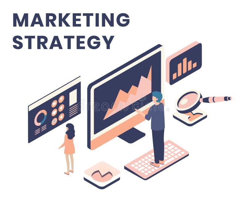Isometriskt konstverkbegrepp av det online-begreppet för marknadsföra strategi stock illustrationer
