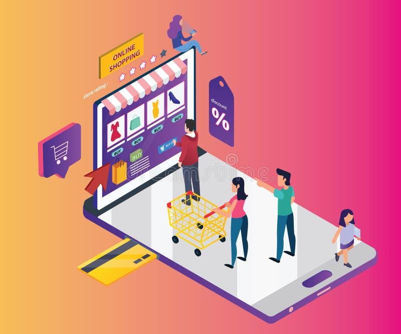 Isometriskt konstverkbegrepp av online-shopping till och med mobiltelefonen royaltyfri illustrationer