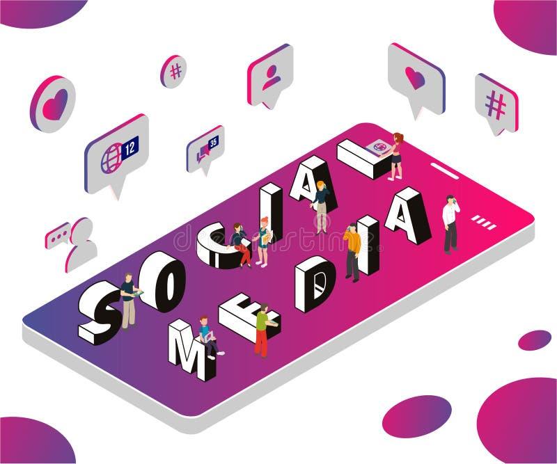 Isometriskt konstverkbegrepp av socialt massmedia som marknadsför för att hjälpa affär för att växa royaltyfri illustrationer