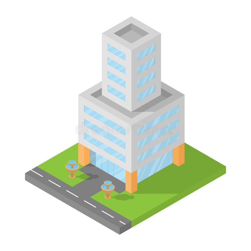 Isometriskt kontor, design för lägenhet 3D för byggnadskvarter, vektorillustran vektor illustrationer