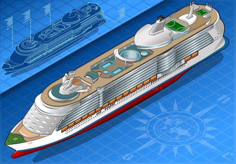 Isometriskt kryssningskepp i Front View stock illustrationer