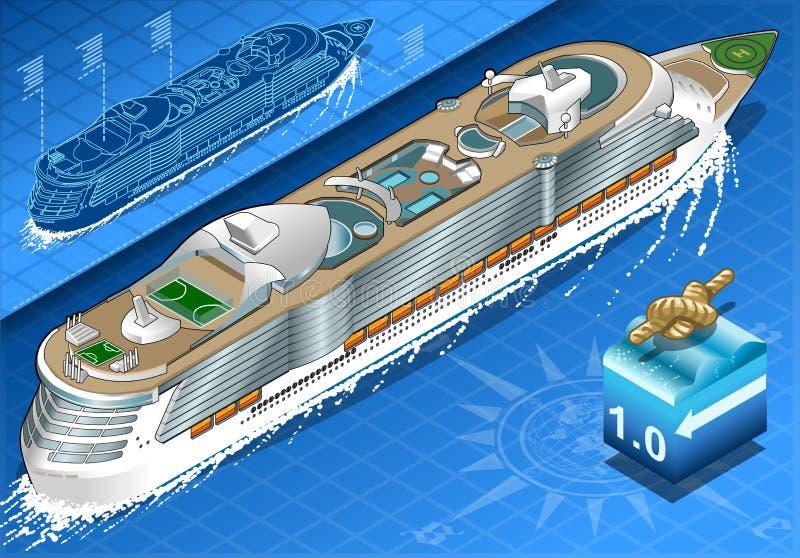 Isometriskt kryssningskepp i navigering i bakre sikt royaltyfri illustrationer