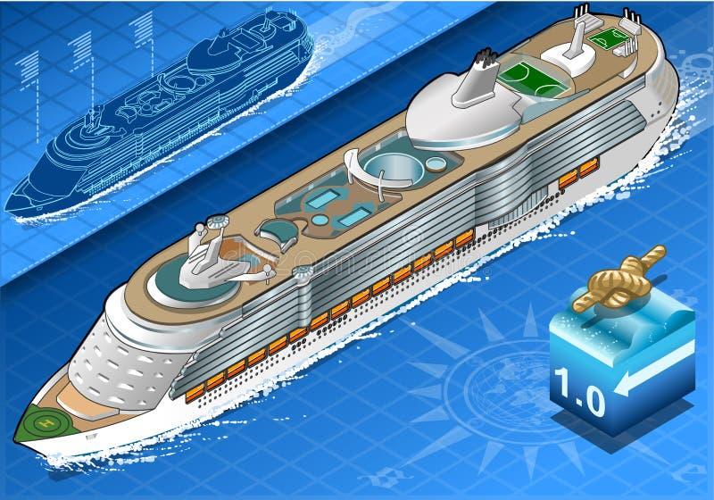 Isometriskt kryssningskepp i navigering i Front View vektor illustrationer