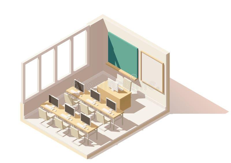 Isometriskt lågt poly datorklassrum för vektor royaltyfri illustrationer