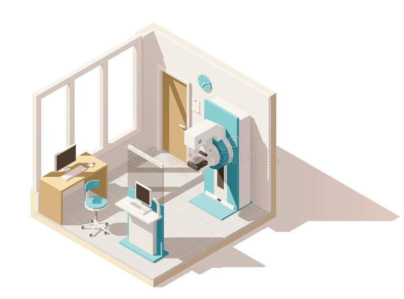 Isometriskt lågt poly mammographyrum för vektor royaltyfri illustrationer
