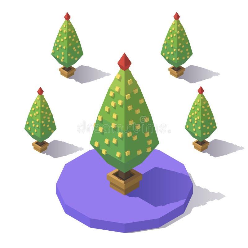Isometriskt lågt poly träd royaltyfri illustrationer