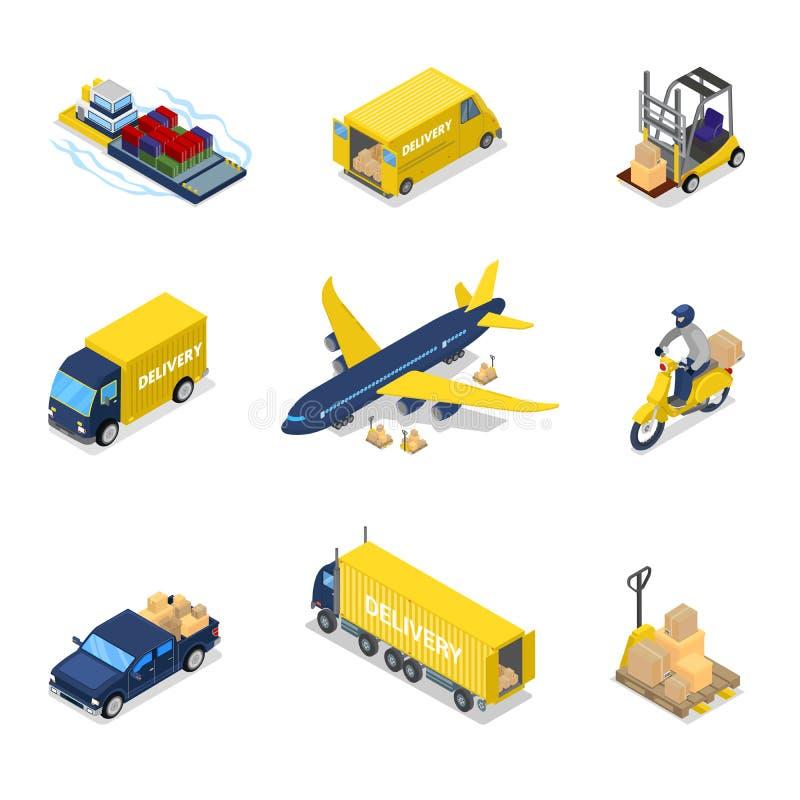 Isometriskt leveransbegrepp Trans. för frakter för flygfraktnivå, lastbil, sparkcykel vektor illustrationer
