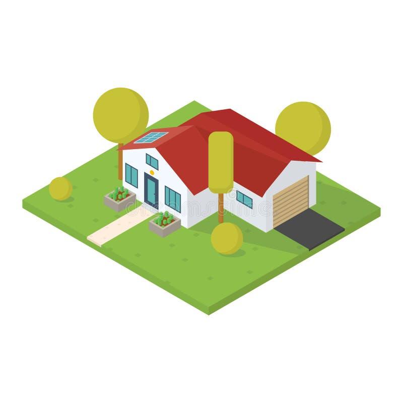 Isometriskt litet hus royaltyfri illustrationer