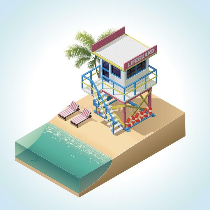 Isometriskt livräddaretorn för vektor stock illustrationer