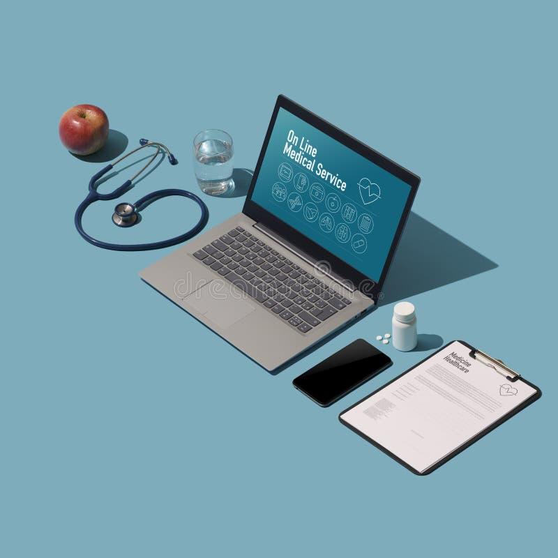 Isometriskt medicinskt skrivbord med bärbara datorn royaltyfri illustrationer