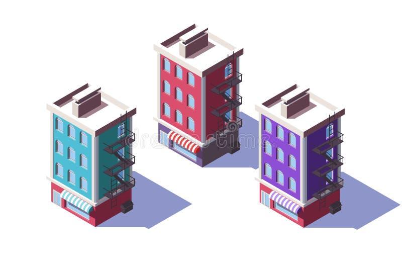 isometriskt mitt--löneförhöjning 3d hus med den mini- marknaden på det första golvet stock illustrationer