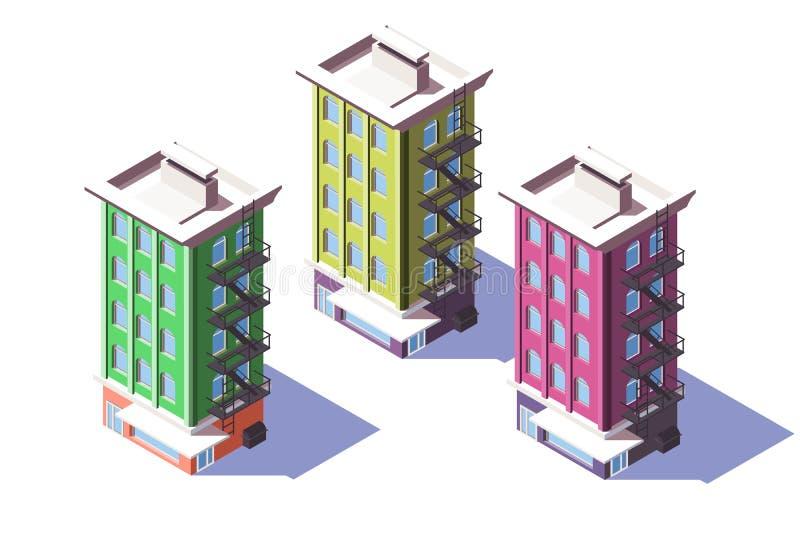 isometriskt mitt--löneförhöjning 3d hus med den mini- marknaden på det första golvet vektor illustrationer