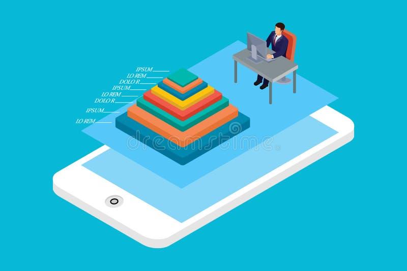Isometriskt mobilt begrepp som är infographic, i vit isolerad bakgrund med folk och Digital släkt tillgång royaltyfria foton