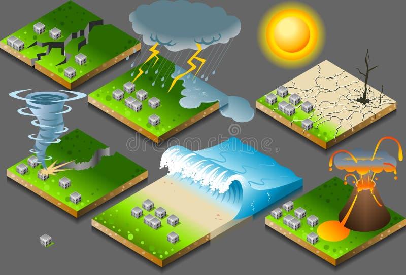 isometriskt naturligt för katastrof stock illustrationer
