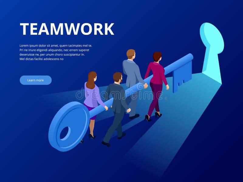 Isometriskt nyckel- begrepp för affärsframgång Affärsteamworktangent av framgångbegreppet Grupp människorlyftande tangent till fr royaltyfri illustrationer