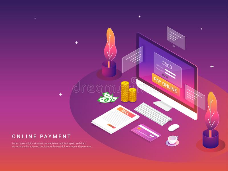Isometriskt online-betalningbegrepp Internetbetalningar vid kortet och stock illustrationer