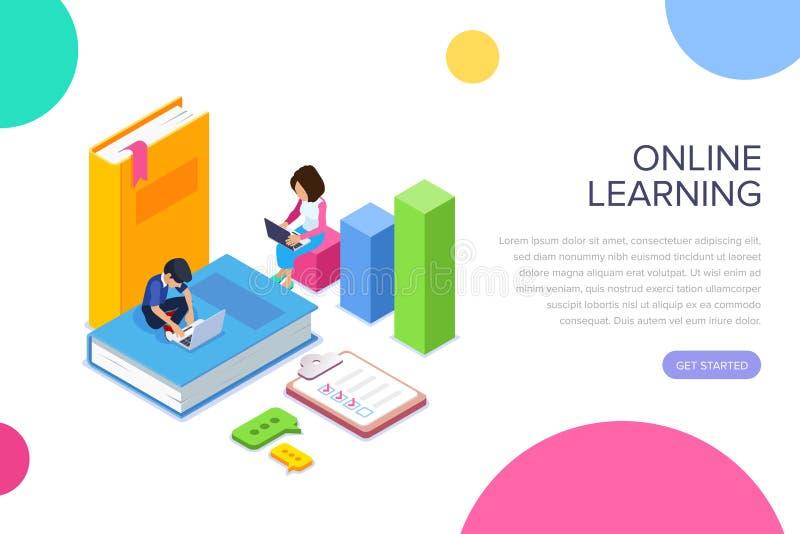 Isometriskt online-lära eller kursbegrepp Studenter eller skolbarn vinner kunskap till och med använda för internet stock illustrationer