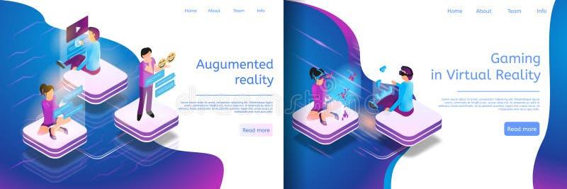 Isometriskt online-meddela, faktisk dobbel royaltyfri illustrationer
