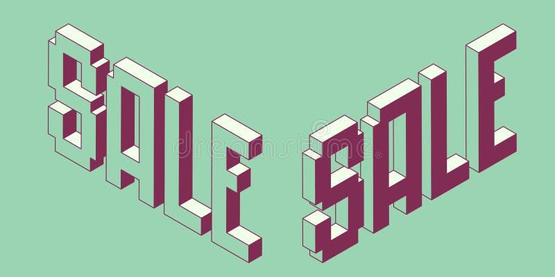 Isometriskt ord Sale för PIXEL royaltyfri illustrationer