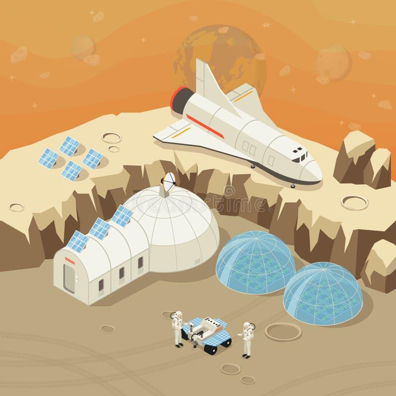 Isometriskt planetutforskning och kolonisationbegrepp stock illustrationer