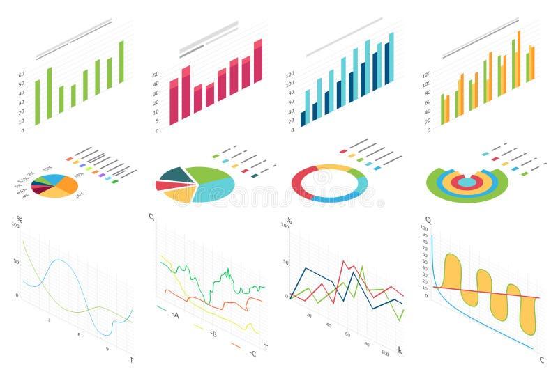 Isometriskt plant datafinansdiagram, affärsfinansdiagram för infographic Våggrafdata, 2d diagramstatistik stock illustrationer