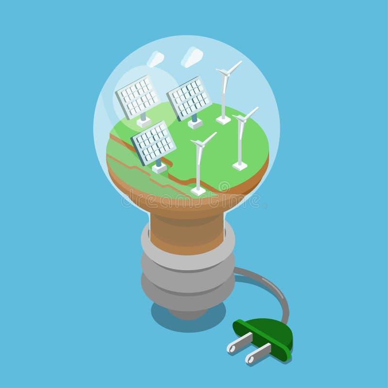 isometriskt plant för gräsplanenergi för ekologi 3d begrepp royaltyfri illustrationer
