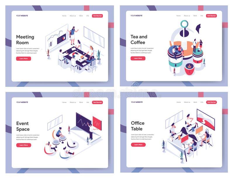 Isometriskt plant mötesrum, te och kaffe, händelseutrymme och begrepp för kontorstabellbaner som landar sidamallen för Website, M stock illustrationer