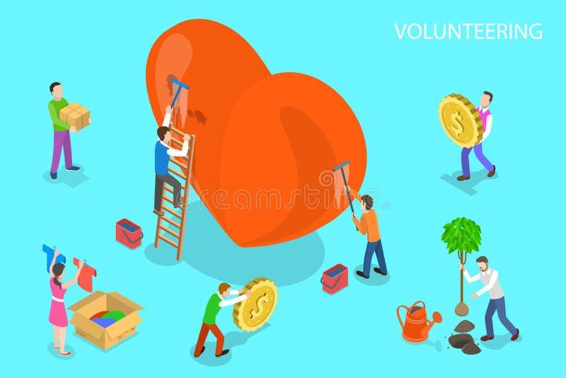 Isometriskt plant vektorbegrepp av att ställa upp som frivillig och service, donation royaltyfri illustrationer