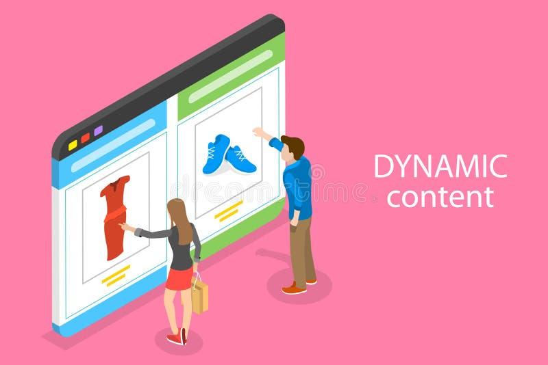 Isometriskt plant vektorbegrepp av den beteende- digitala marknadsföringen, dynamiskt innehåll stock illustrationer