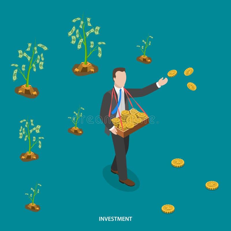 Isometriskt plant vektorbegrepp för investering stock illustrationer