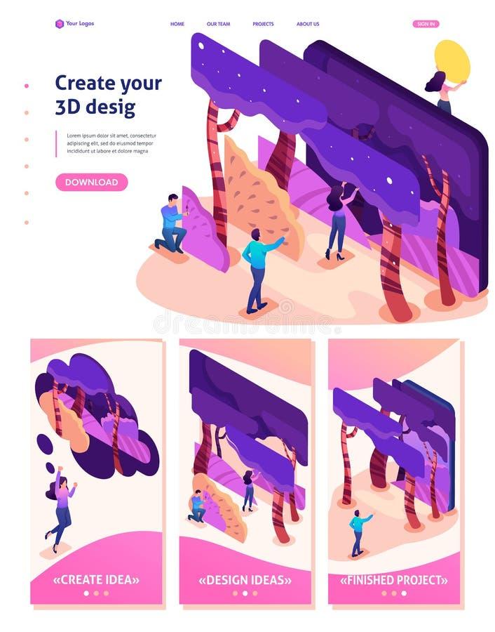 Isometriskt program för att skapa illustrationer 3D stock illustrationer