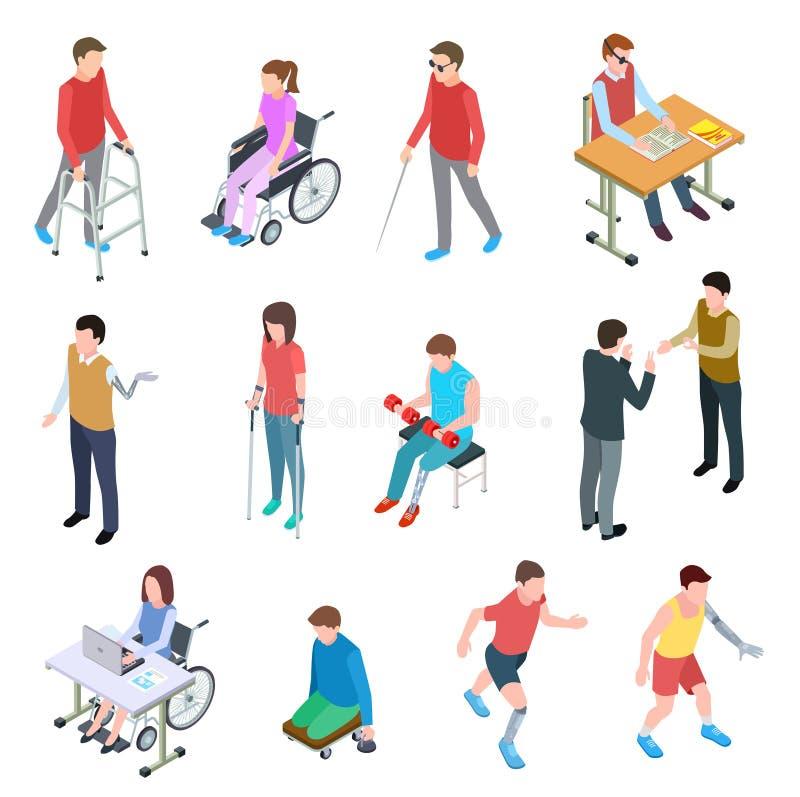 Isometriskt rörelsehindrat folk Personer med skada i rullstol, med prosthetic lemmar, rullgardinen och äldre folk vektor stock illustrationer