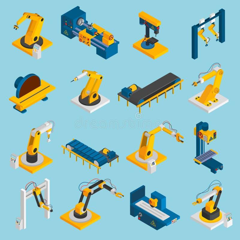 Isometriskt robotmaskineri royaltyfri illustrationer