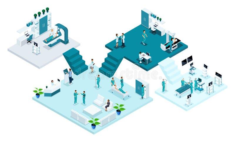 Isometriskt rum av sjukhuset, sjukvården och den innovativa teknologin, medicinsk personal, patienter royaltyfri illustrationer
