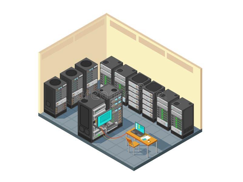 Isometriskt rum för nätverksserver med rad av datorutrustningar vektor illustrationer