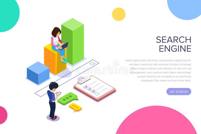 Isometriskt sökandeenginegbegrepp Folket finner information genom att använda bärbara apparater Tillväxtgraf och sökandestång Kan stock illustrationer