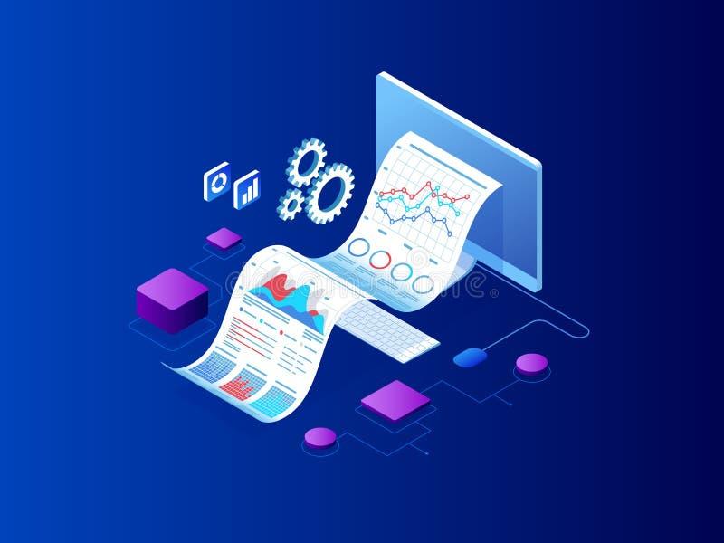 Isometriskt sakkunnigt lag för dataanalys, affärsstatistik, ledning som konsulterar, marknadsföring Landa sidamallen vektor illustrationer