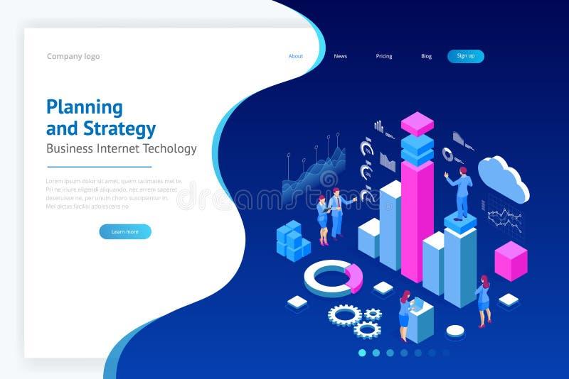 Isometriskt sakkunnigt lag för dataanalys, affärsstatistik, ledning som konsulterar, marknadsföring Landa sidamallen royaltyfri illustrationer