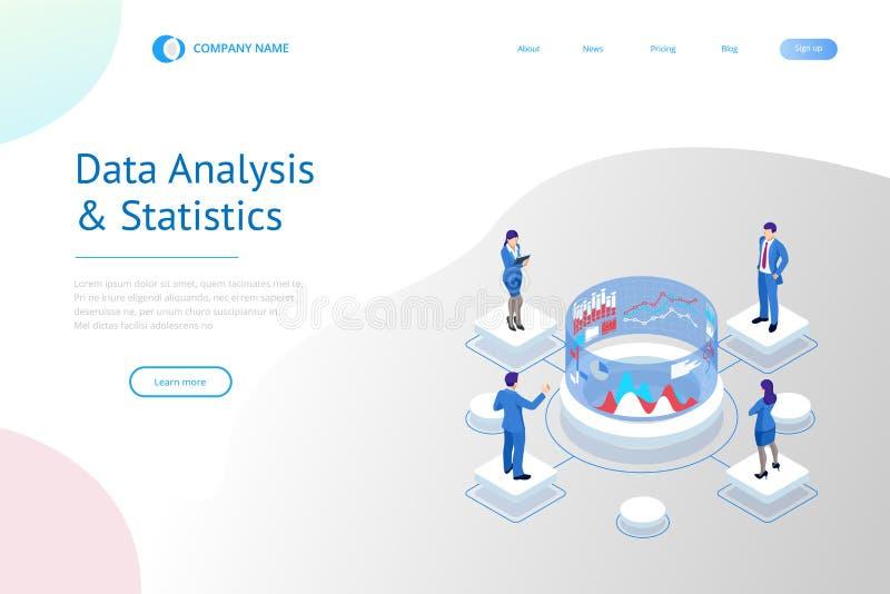 Isometriskt sakkunnigt lag f?r dataanalys, aff?rsstatistik, ledning som konsulterar, marknadsf?ring Avancerad analytics stock illustrationer